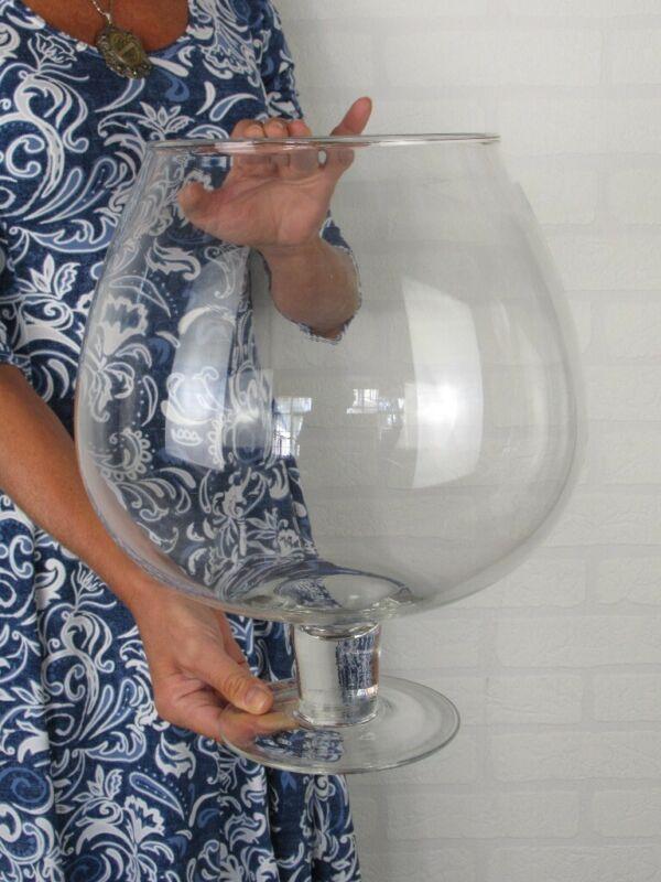 Vintage Large Jar A Stem Glass Aquarium 13 13/16in Modern Antiques Design 1970