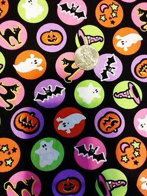 Halloween Fabric by the Yard Bats Witch Hats cats ghosts Pink Purple Orange