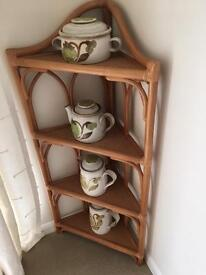 Corner unit for sale. Rattan display shelves as per picture.