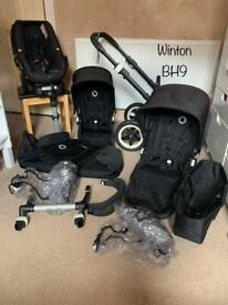Bugaboo Donkey 2016 True Black Frame Complete Travel System - Excellent Condition