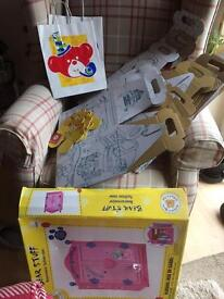 Build a bear BOXES AND COAT HANGERS