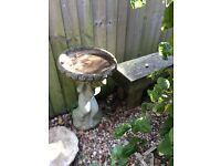 Two stone type bird baths