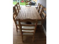 Large Solid Wood Dining Table Set - 8 chairs