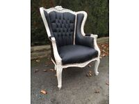 Large feature shabby chic retro chair