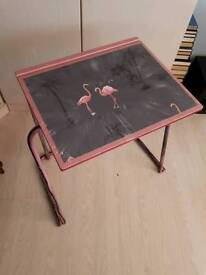 Pink flamingo desk. pre loved hand decorated by 'AndyMan UpCycling