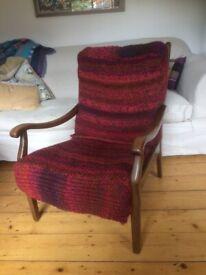 Wood-frame armchair