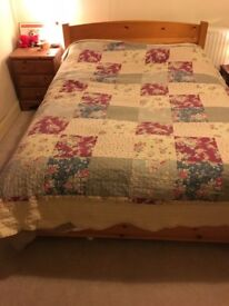 Double Bed with mattress and under-bed drawer storage - bed has always had a mattress topper on