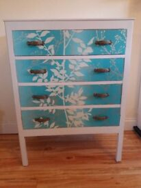 Lovely Upcycled Vintage Chest of Drawers in Teal