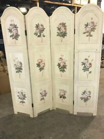 Victorian 4 Panel Screen, Floral Design & Cream Finish