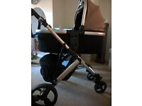 Tutti Bambini travel system stunning black/taupe great condition pram cot and buggy components