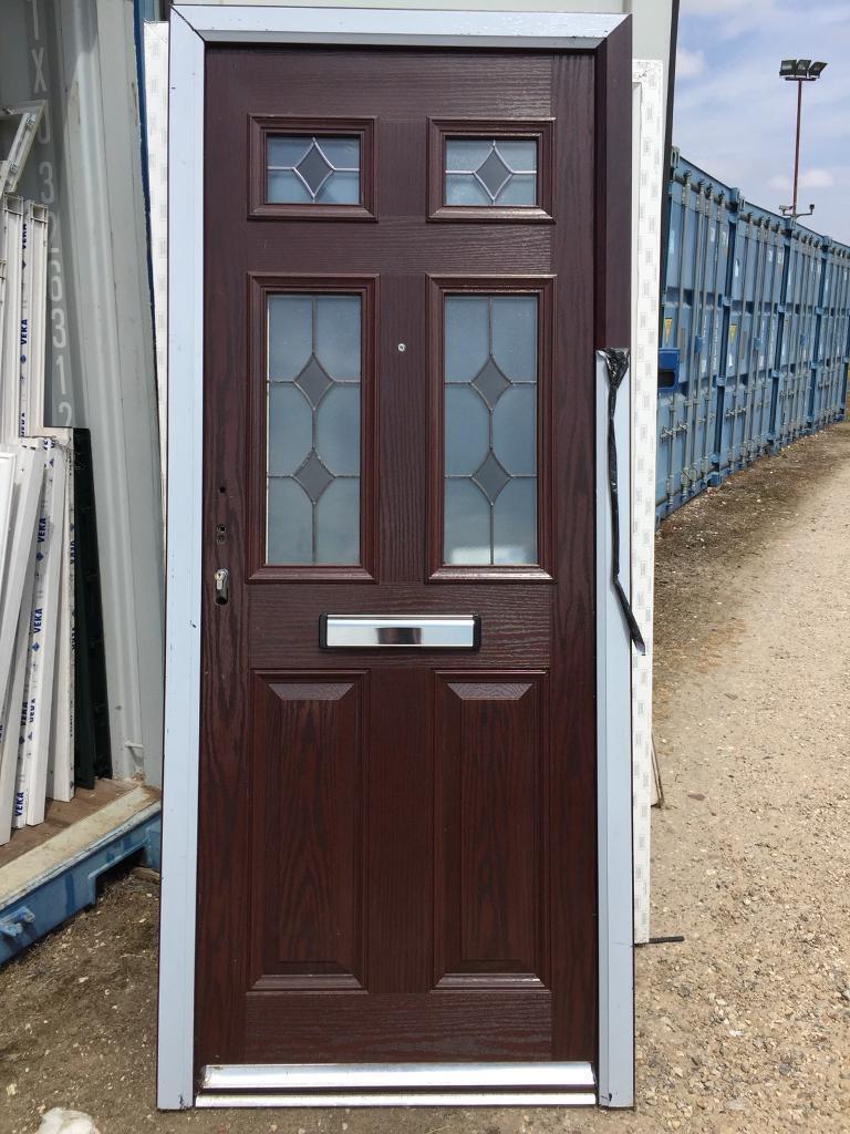 New Upvc Composite Front Door Rosewood Brown Lead Glass 880 X 2090