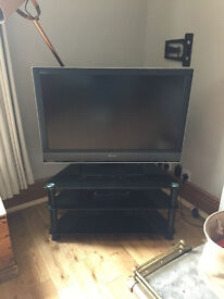"""Huge 40"""" Plasma Screen SONY TV with Glass stand and 2 shelves"""