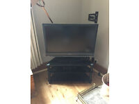 "Huge 40"" Plasma Screen SONY TV with Glass stand and 2 shelves"