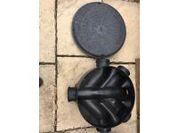 Manhole with lid, base unit with lid all black plastic all unused.