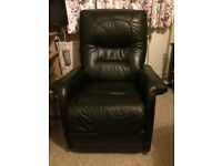 2 x Black leather reclining chairs