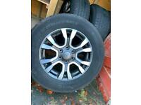 """4 x Ford Ranger 18"""" alloy wheels including continental tyres."""