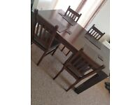 Dining table (would seat 4/6) plus 4 chairs