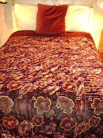 BED THROW - DOUBLE SIZE - BURGUNDY COLOURS - VELVET