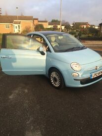 Baby Blue fiat 500, 57800 miles but may alter as car is still in use until sale.