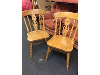 Pair farmhouse stickback chairs