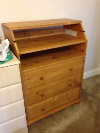 SOLID WOOD NATURAL FOLDOUT FOLDING OUT NAPPY CHANGING TABLE TOP + THREE 3 DRAWER CHEST + CAN DELIVER
