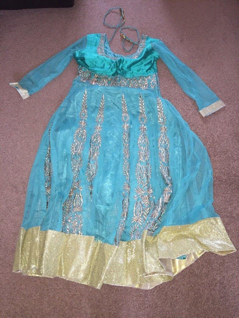 Light green and gold Asian dress