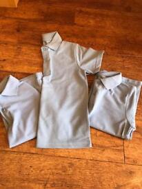 3 x TU Light Blue Polo Shirts Age 6 NEVER WORN. School Uniform.