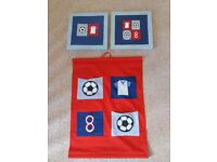 Football canvas prints and wall/storage tidy