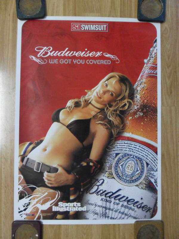 Sexy Girl Beer Poster ~ Bud Budweiser Sports Illustrated Swimsuit Got U Covered