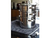 Stainless steel 3-tier steamer