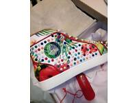 Mens Christian Louboutin WHITE/MULTIC sneakers. UK SIZE 9 not balenciaga Giuseppe zanotti