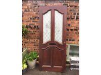Hardwood Door with etched glass panes