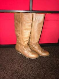 ZARA TRF Tan real leather boots size 4