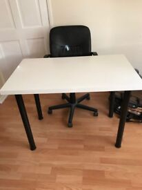 White Ikea Desk and Leather Pc world chait