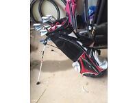 Taylor made golf bag and mizuno clubs