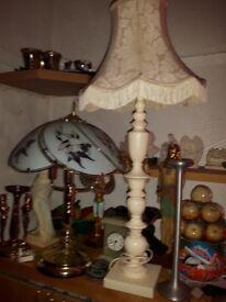Lanp Large Tall Cream Wooden Lamp