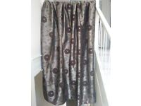 4 Faux-satin Brown Fully Lined Curtains