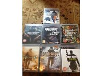 7 x ps3 games cod black ops 1 cod ghosts gta 4 cod mw2 cod world at war cod mw3 battlefield 2