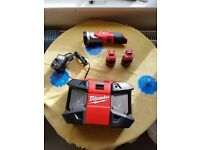 milwaukee 1/2 drive 18v impact gun set with torch radio 3 batterys and charger in carry case