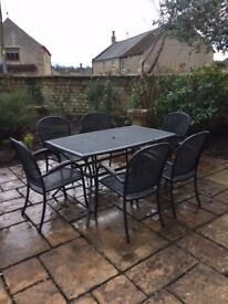 LOVELY USED METAL 'KETTLER' STYLE GARDEN TABLE AND SIX CHAIRS