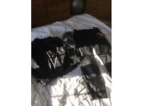 Brand new women's size 12 motorbike leather jacket and trousers and gloves