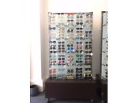 Modern frosted glass double sided *Sunglasses display* unit holding 200 pairs of sunglasses