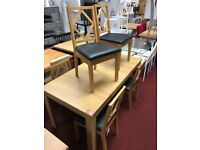 Pemberton extendable dining table and 6 diamond back chairs - oak