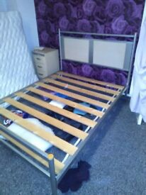 Solid double bed base