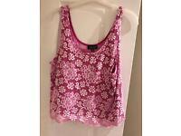 Topshop size 12 hot pink flower cami
