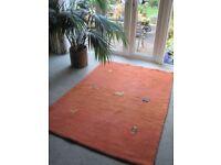 Orange wool oriental Gabbeh rug