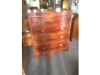 Fabulous Antique Large Flame Mahogany Bow Fronted 2 Over 3 Chest Of Drawers Tallboy