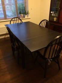 Dining table and 4 chairs Ikea walnut