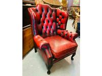 NOW SOLD Fabulous vintage oxblood chesterfield deep button Queen Anne wingback leather armchair