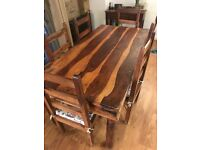 Solid 6ft Oak Duning Table + 6 Oak Chairs
